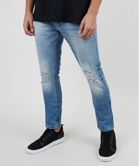 Calca-Jeans-Masculina-Skinny-com-Rasgos-Azul-Medio-9907317-Azul_Medio_1