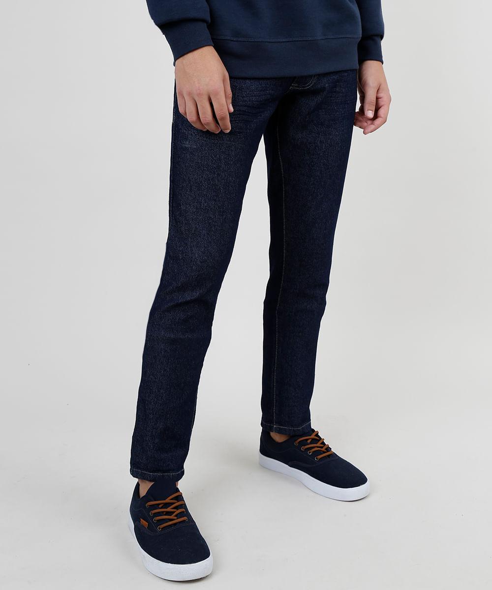 Calça de Sarja Masculina Slim Azul Escuro