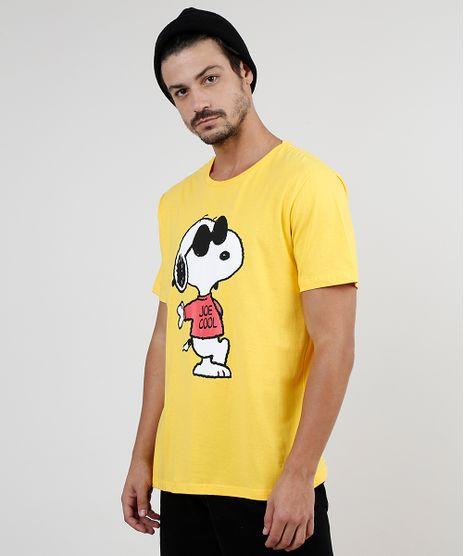 Camiseta-Masculina-Snoopy-Manga-Curta-Gola-Careca-Amarela-9896443-Amarelo_1