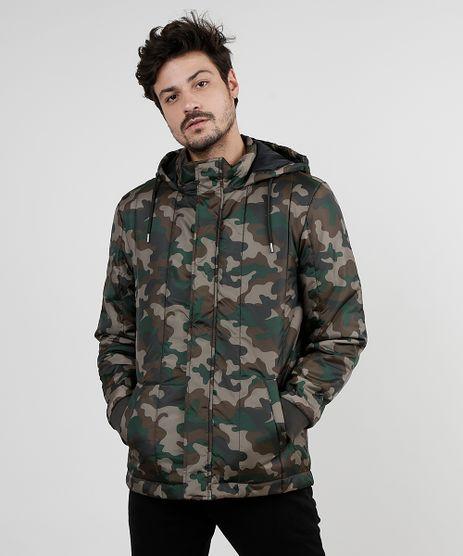 Jaqueta-Puffer-Masculina-Estampada-Camuflada-em-Nylon-com-Capuz-e-Bolsos-Verde-Militar-9830011-Verde_Militar_1