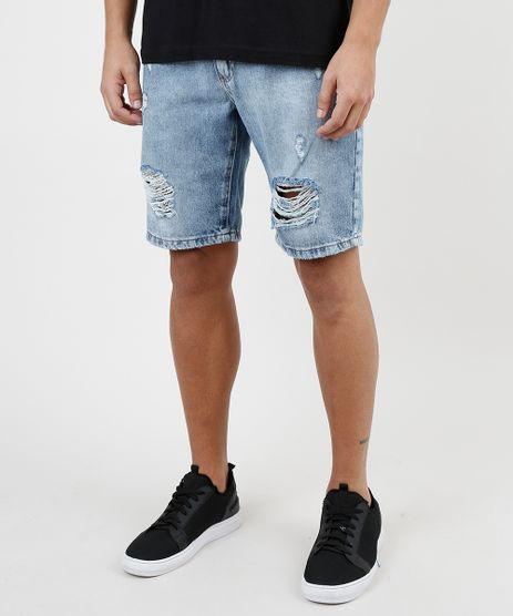 Bermuda-Jeans-Masculina-Slim-Destroyed-Azul-Medio-9920747-Azul_Medio_1