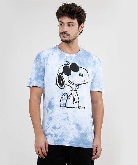 Camiseta-Masculina-Snoopy-Estampada-Tie-Dye-Manga-Curta-Gola-Careca-Azul-Claro-9875265-Azul_Claro_1