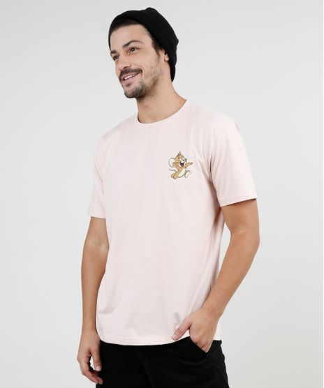 Camiseta-Masculina-Tom-e-Jerry-Manga-Curta-Gola-Careca-Rose-9870731-Rose_1