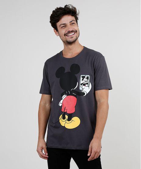 Camiseta-Masculina-Mickey-Selfie-Manga-Curta-Gola-Careca-Chumbo-9875581-Chumbo_1