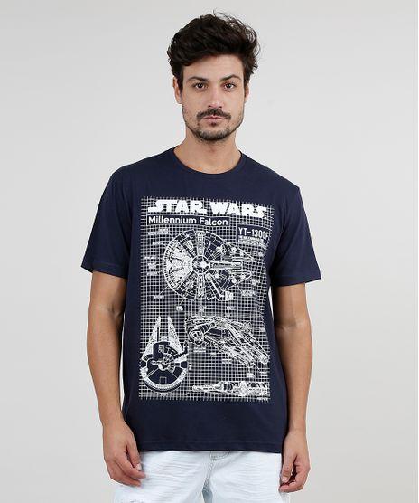 Camiseta-Masculina-Millennium-Falcon-Manga-Curta-Gola-Careca-Azul-Marinho-9870084-Azul_Marinho_1