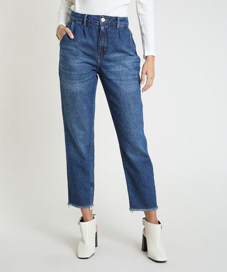 Calca-Jeans-Feminina-Mom-Cintura-Super-Alta-com-Barra-Desfiada-Azul-Medio-9946116-Azul_Medio_1