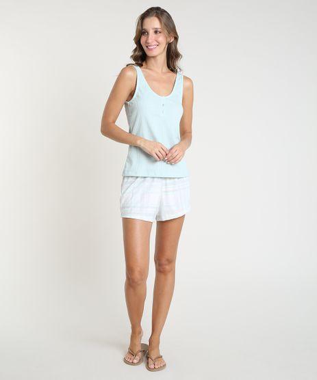 Pijama-Feminino-Canelado-Xadrez-Alca-Media-Verde-Claro-9867315-Verde_Claro_1