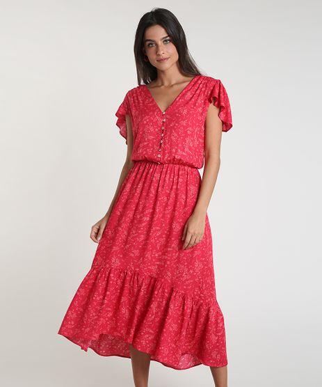 Vestido-Feminino-Midi-Estampado-Floral-com-Botoes-e-Babado-na-Manga-Rosa-Escuro-9941824-Rosa_Escuro_1