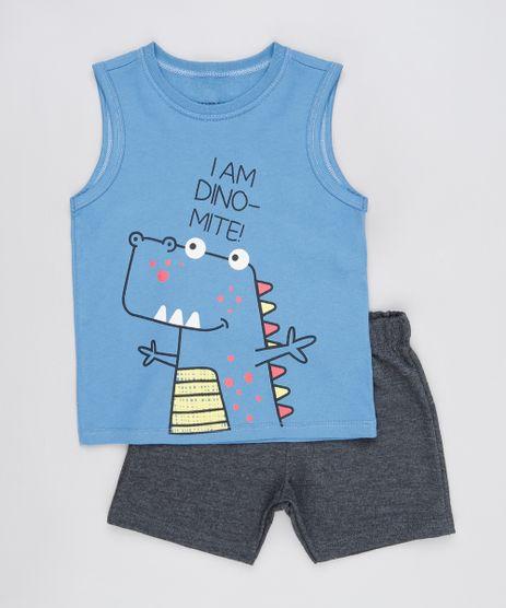 Conjunto-Infantil-de-Regata-Dinossauro-Azul---Bermuda-em-Moletom-Cinza-Mescla-Escuro-9876589-Cinza_Mescla_Escuro_1