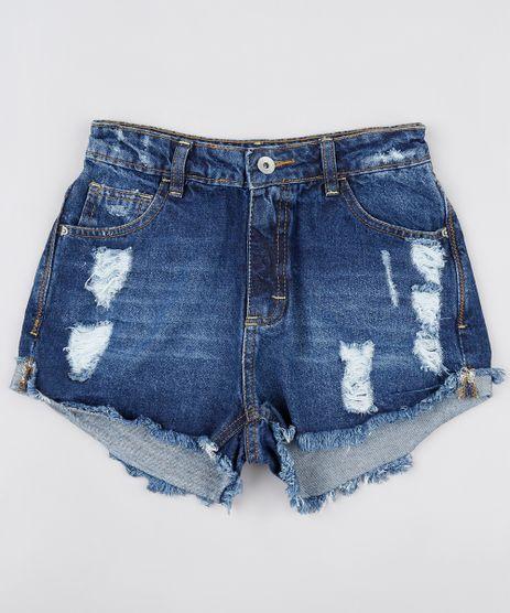 Short-Jeans-Infantil-Destroyed-com-Barra-Desfiada-Azul-Escuro-9907067-Azul_Escuro_1