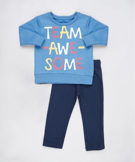 Conjunto-Infantil-de-Blusao--Team-Awesome--Azul---Calca-em-Moletom-Felpado-Azul-Marinho-9876595-Azul_Marinho_1