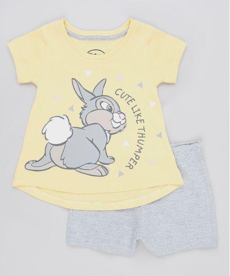 Conjunto-Infantil-Tambor-Bambi-de-Blusa-Manga-Curta-Amarela---Short-em-Moletom-Cinza-Mescla-9880801-Cinza_Mescla_1