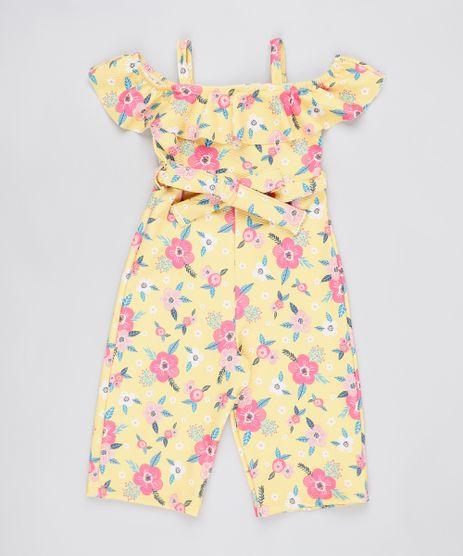Macacao-Infantil-Open-Shoulder-Estampado-Floral-com-Faixa-para-Amarrar-Manga-Curta-Amarelo-9899865-Amarelo_1