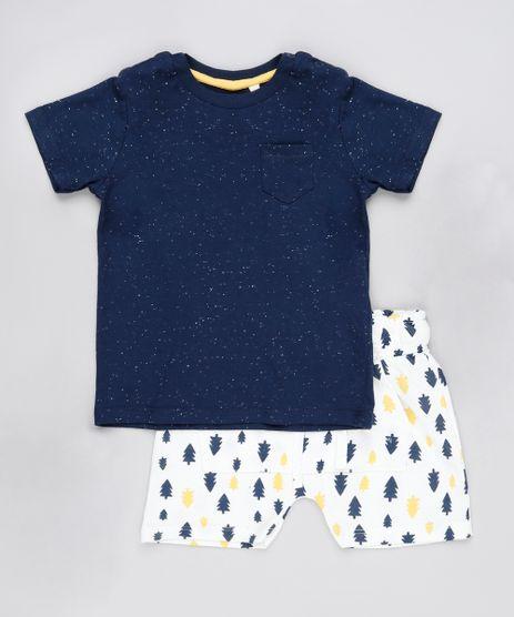 Conjunto-Infantil-de-Camiseta-com-Bolso-Manga-Curta-Azul-Marinho---Bermuda-Estampada-de-Arvores-em-Moletom-Off-White-9891694-Off_White_1