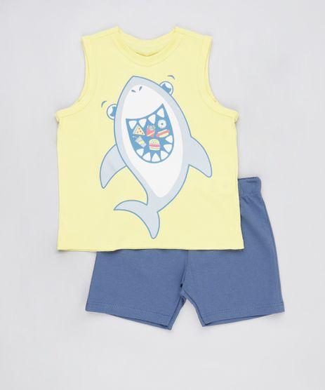 Conjunto-Infantil-de-Regata-Tubarao-Amarela---Bermuda-em-Moletom-Azul-Marinho-9876588-Azul_Marinho_1