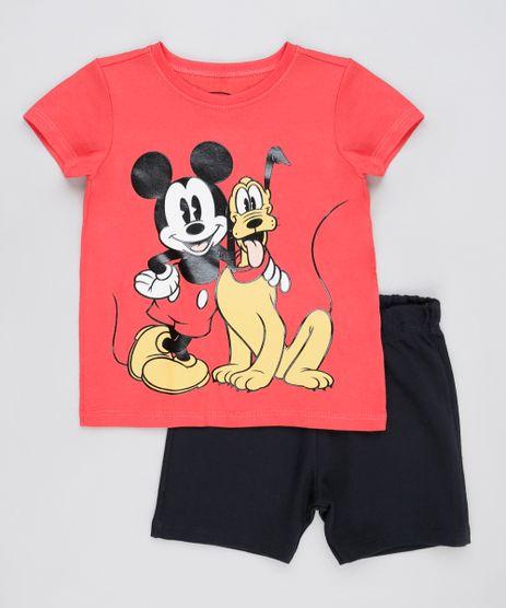 Conjunto-Infantil-Mickey-e-Pluto-de-Camiseta-Manga-Curta-Vermelha---Bermuda-em-Moletom-Vermelha-9876604-Vermelho_1