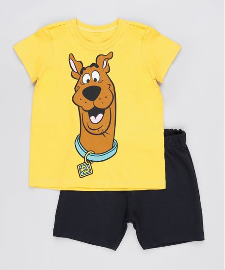 Conjunto-Infantil-Scooby-Doo-de-Camiseta-Manga-Curta-Mostarda---Bermuda-em-Moletom-Preta-9876590-Preto_1