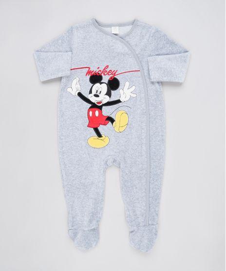 Macacao-Infantil-Mickey-em-Plush-com-Pezinho-Manga-Longa-Cinza-Mescla-9839862-Cinza_Mescla_1