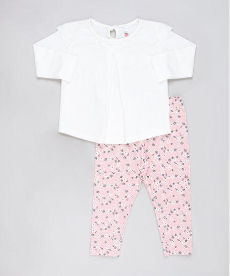 Conjunto-Infantil-de-Blusa-com-Laise-Manga-Longa-Off-White---Calca-Legging-Estampada-Floral-Rosa-9905226-Rosa_1