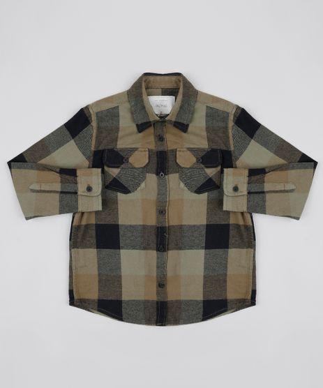 Camisa-Infantil-Estampada-Xadrez-em-Flanela-com-Bolsos-Verde-Militar-9808452-Verde_Militar_1