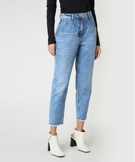 Calca-Jeans-Feminina-Mom-Cintura-Super-Alta-com-Barra-Desfiada-Azul-Claro-9946115-Azul_Claro_1