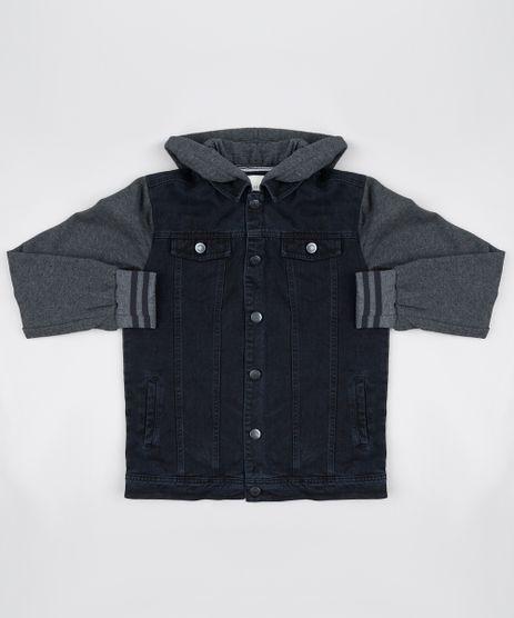 Jaqueta-Jeans-Infantil-com-Moletom-Felpado-e-Capuz-Preta-9807511-Preto_1