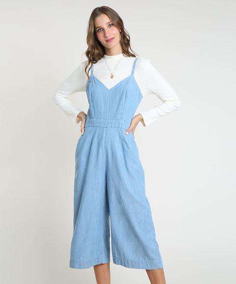 Macacao-Jeans-Feminino-Pantacourt-com-Bolsos-Alca-Fina-Azul-Claro-9893645-Azul_Claro_1_1