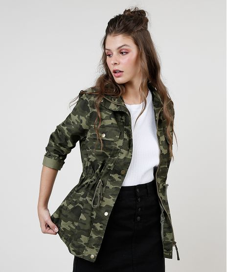 Parka-de-Sarja-Feminina-Estampada-Camuflada-com-Bolsos-Gola-Alta-Verde-Militar-9816142-Verde_Militar_1