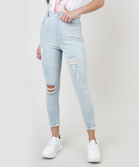 Calca-Jeans-Feminina-Cropped-Cintura-Alta-com-Rasgos-Azul-Claro-9893994-Azul_Claro_1