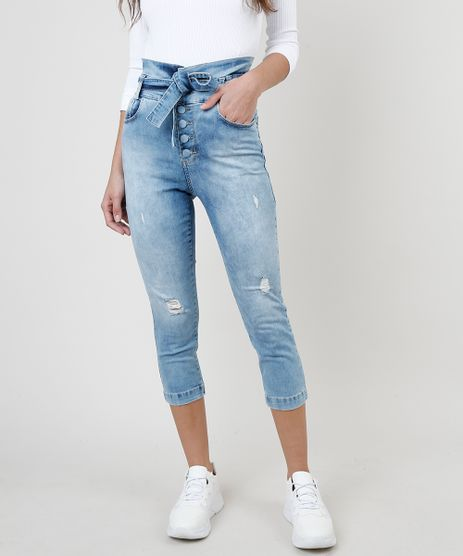 Calca-Jeans-Feminina-Sawary-Cropped-Clochard-Cintura-Alta-com-Faixa-para-Amarrar--Azul-Claro-9941573-Azul_Claro_1