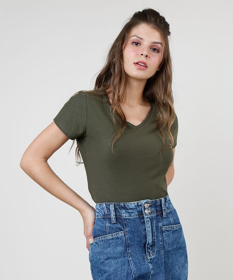 Blusa-Feminina-Basica-Flame-Manga-Curta-Decote-V-Verde-Militar-9847524-Verde_Militar_1