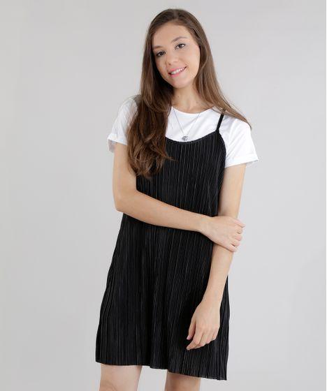 Black Friday Vestido Plissado Com Blusa Preto Cea