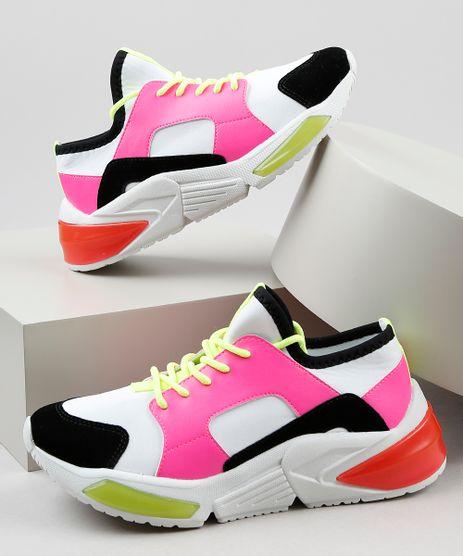 Tenis-Feminino-Oneself-Sneaker-Chunky-em-Neoprene-Color-Block-Neon-Branco-9906436-Branco_1