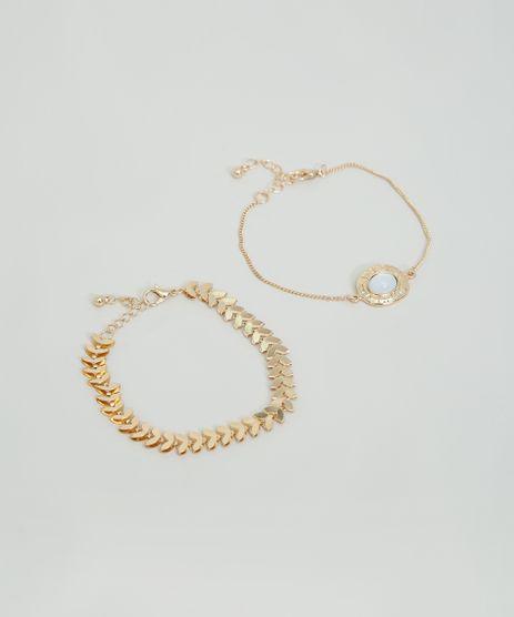 Kit-de-2-Pulseiras-Femininas-com-Meia-Lua-e-Medalha-Dourado-9860325-Dourado_1