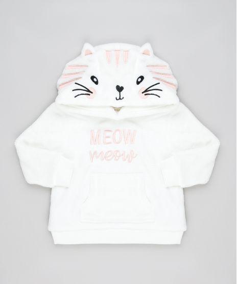 Blusao-Infantil-Gatinha--Meow--em-Plush-com-Capuz-e-Bolso-Off-White-9794862-Off_White_1
