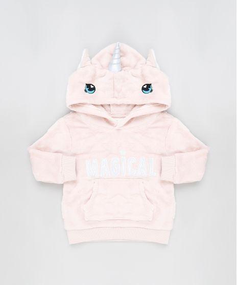 Blusao-Infantil-Unicornio--Magical--em-Plush-com-Capuz-e-Bolso-Rose-9794863-Rose_1