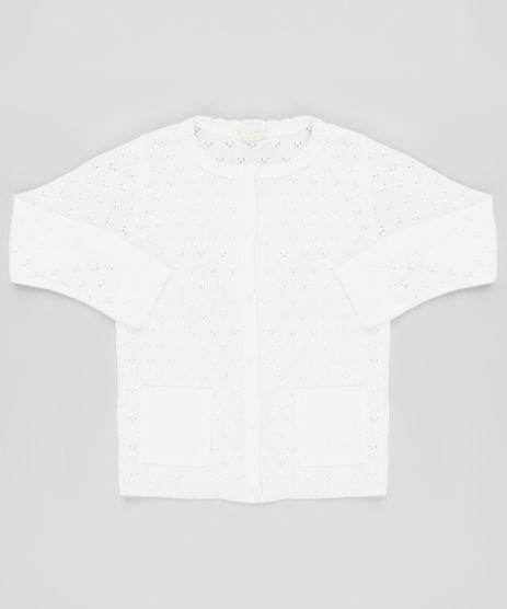 Cardigan-Infantil-em-Trico-com-Bolsos-Branco-9933965-Branco_1