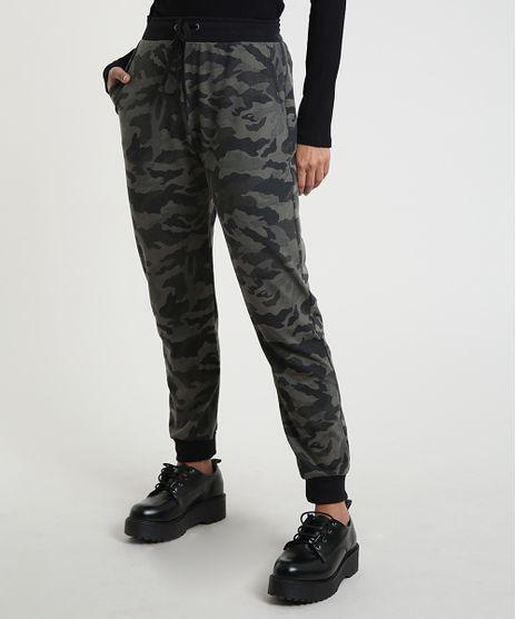 Calca-Feminina-Jogger-Cintura-Media-Estampada-Camuflada-em-Moletom-Verde-Militar-9248146-Verde_Militar_1