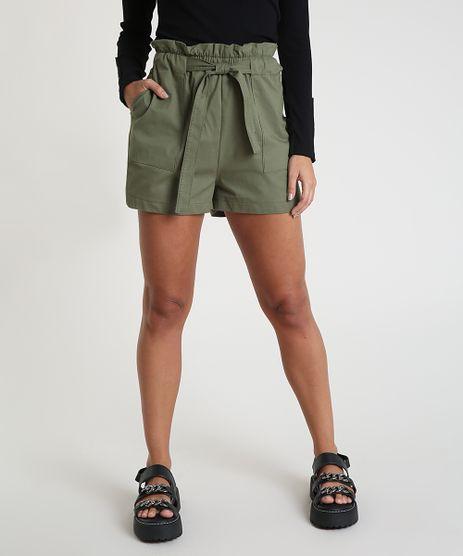 Short-Feminino-Clochard-Cintura-Alta-com-Bolsos-e-Faixa-para-Amarrar-Verde-Militar-9928065-Verde_Militar_1