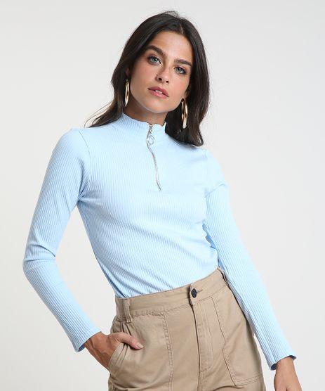 Blusa-Feminina-Canelada-com-Ziper-de-Argola-Manga-Longa-Gola-Alta-Azul-Claro-9461071-Azul_Claro_1