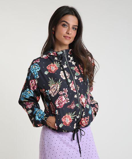 Jaqueta-Corta-Vento-Feminina-em-Nylon-Estampada-Floral-com-Capuz-Preta-9786531-Preto_1