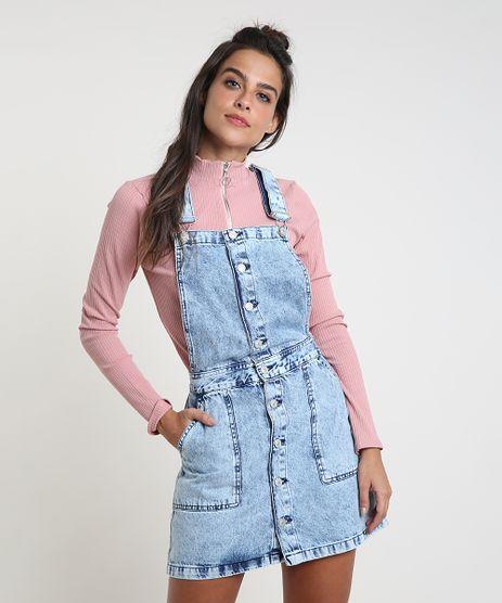 Salopete Jeans Feminina com Botões Frente