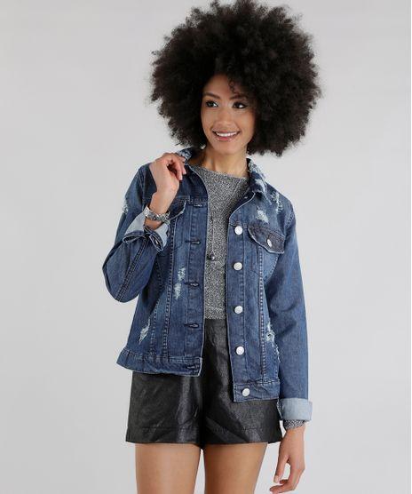 df2345393 Jaqueta-Jeans--Dark-Love-Punk--Azul-Medio-