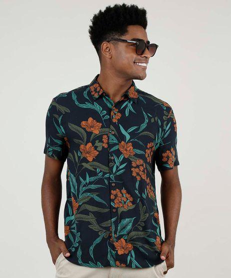 Camisa-Masculina-BBB-Tradicional-Estampada-Floral-Manga-Curta-Azul-Escuro-9893142-Azul_Escuro_1