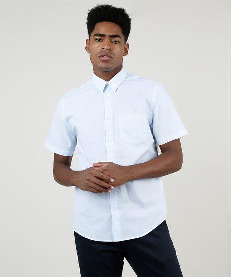 Camisa-Masculina-Comfort-Estampada-Xadrez-com-Bolso-Manga-Curta-Azul-Claro-9831773-Azul_Claro_1
