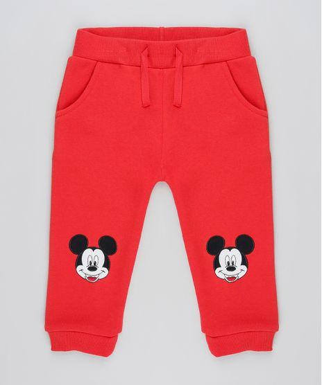 Calca-Infantil-Mickey-com-Bordado-em-Moletom-Felpado--Vermelha-9839860-Vermelho_1