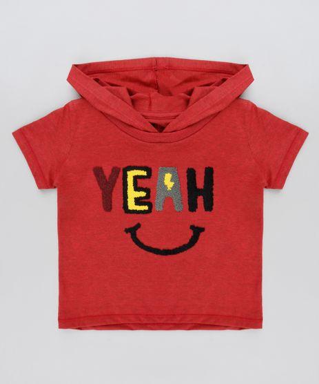 Camiseta-Infantil--Yeah--com-Capuz-Manga-Curta-Vermelha-9922060-Vermelho_1