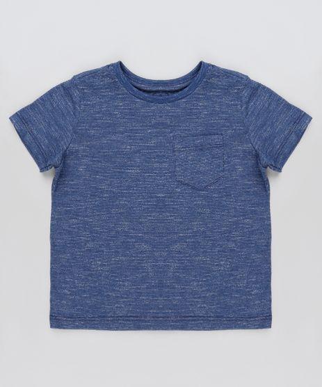 Camiseta-Infantil-Basica-Mescla-com-Bolso-Manga-Curta-Azul-Marinho-9936071-Azul_Marinho_1