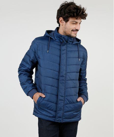 Jaqueta-Puffer-Masculina-em-Nylon-com-Capuz-e-Bolsos-Azul-Escuro-9830014-Azul_Escuro_1