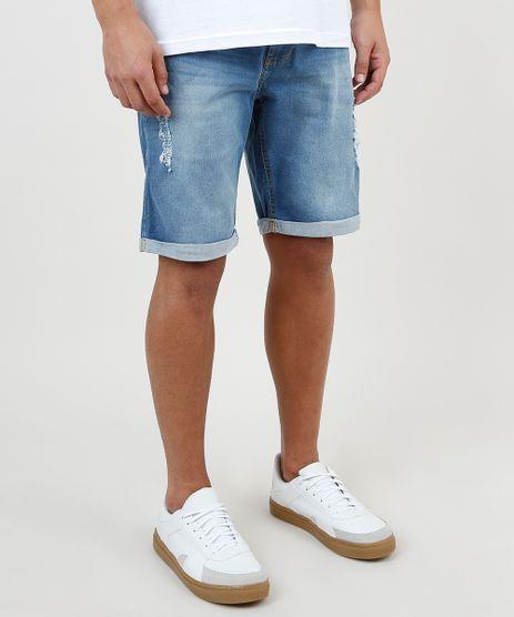 Bermuda-Jeans-Masculina-Slim-Destroyed-com-Barra-Dobrada-Azul-Medio-9942497-Azul_Medio_1